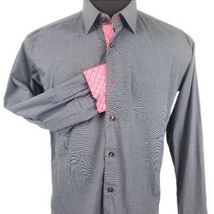 Jared Lang Button Up Gray Pink Dress Shirt Size L